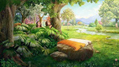 Deus faz roupas de peles para Adão e Eva
