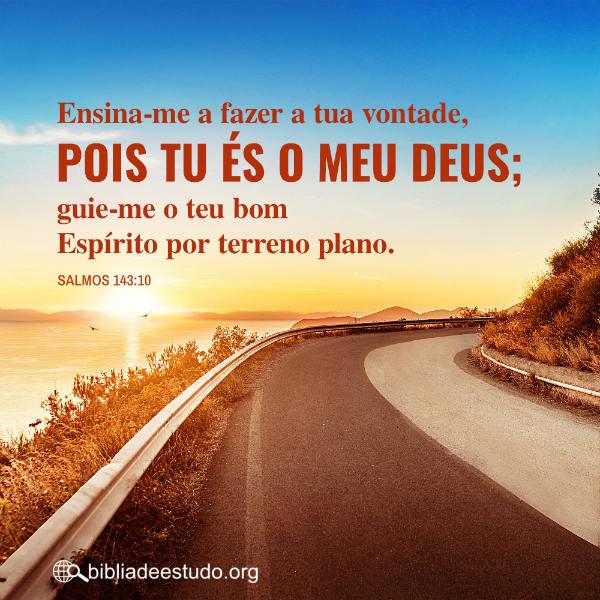 Salmos 143:10 Ensina-me a fazer a tua vontade, pois tu és o meu Deus; guie-me o teu bom Espírito por terreno plano.