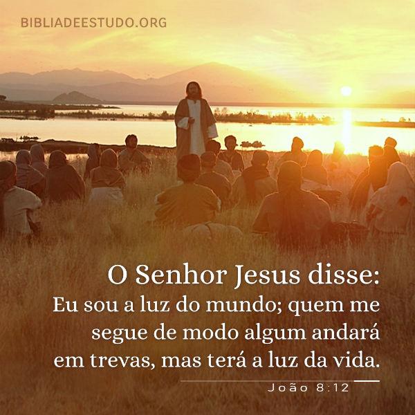 O Senhor Jesus disse:Eu sou a luz do mundo; quem me segue de modo algum andará em trevas, mas terá a luz da vida. João 8:12