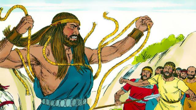 Então o Espírito do Senhor se apossou dele, e as cordas que lhe ligavam os braços se tornaram como fios de linho que estão queimados do fogo, e as suas amarraduras se desfizeram das suas mãos.