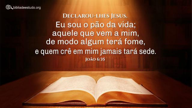 """João 6:35 """"Declarou-lhes Jesus. Eu sou o pão da vida; aquele que vem a mim, de modo algum terá fome, e quem crê em mim jamais tará sede."""""""