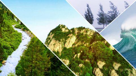 História nº 2. Uma grande montanha, um pequeno riacho, um vento forte e uma onda gigantesca