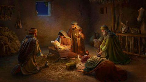 Os Três Reis Magos visitam Jesus