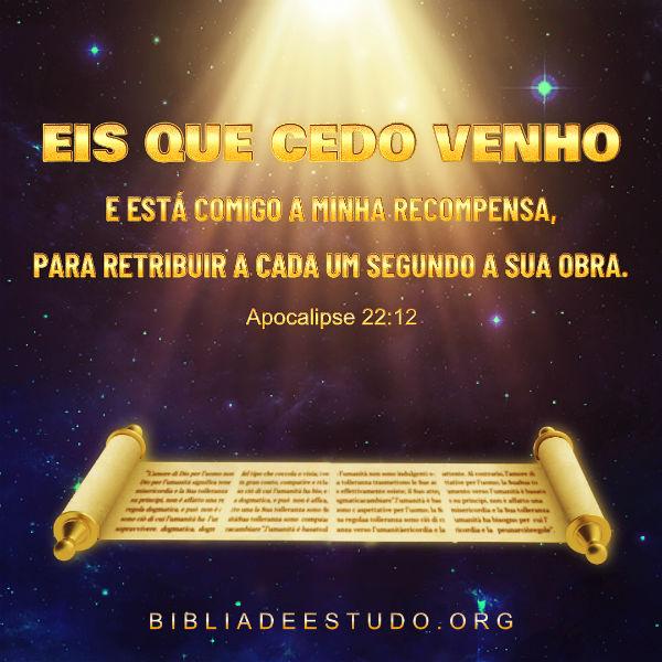 Apocalipse 22:12 Eis que cedo venho e está comigo a minha recompensa, para retribuir a cada um segundo a sua obra.